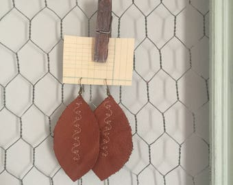 Soft oiled leather earrings