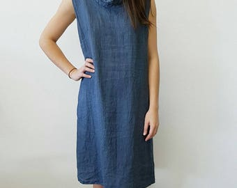 Hand Dyed Linen Dress with Gathering across the Back