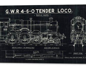 Train blueprints etsy giclee canvas wall art train blueprint malvernweather Gallery