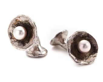 """unisex silver cufflinks with freshwater pearls - """"the offering"""""""