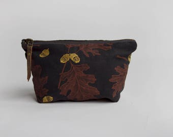 Oak & Acorn Small Traveler Pouch. Project Bag. Zipper Pouch. Cosmetic Bag. Pencil Case.