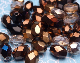Bronze Faceted Glass Oval Beads 8mm - 20pc