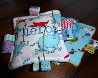 Dr Seuss Oh the Places You Go,  Baby Girl or Boy Crinkle toys, soft teething toys, 2pc set, New, soft, plush