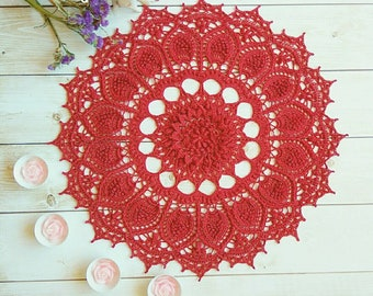 "Crochet doily Round 45 cm / 17,5"". Crocheted Doily."