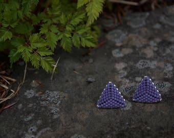 Matte Plum Flat Triangle Stud Earrings
