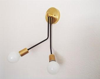 Twin Arm Asymmetrical Modern Wall Sconce Industrial Brass UL Listed