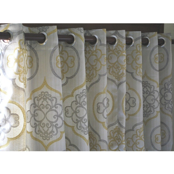 Geometric Light Gold Damask Curtain Panels 52x84