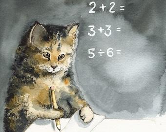 MATH - Cat art, Cat Watercolor, teacher, student, school