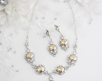 Wedding Necklace Bridal Jewelry Crystal Bride Necklace Swarovski Crystal Statement Wedding Necklace Crystal Bridal Necklace Earrings ESTELLA