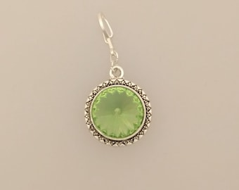 Peridot Interchangeable Pendant -  Swarovski Crystal in Gold or Silver Setting - August Birthstone