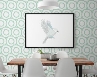Removable Peel & Stick Repositionable Easy Installation Fast Remove Geometric Mint Vintage Scandinavian Pattern Wall Decals  #pattern008