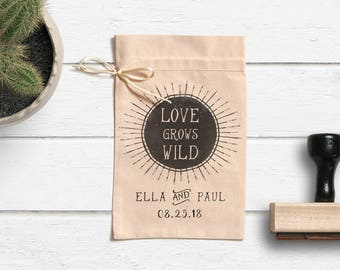 Love Grows Wild Stamp - Wedding Favor Stamp - Seed Packet Favor Stamp- Seed Bag Favors -Custom Wedding Stamp- Let Love Grow Stamp- Tag Stamp