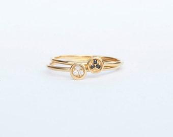 Tiny gold ring - black cz ring - white cz ring - thin ring - gold ring - boho ring - gemstone - zodiac - stacking ring - ring -C1-R-7321