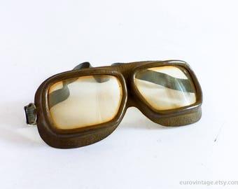 Vintage Leder Schutzbrille / Pilot Aviator-Motorrad-Brille / Linse Kunststoff gelb
