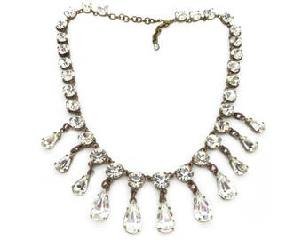 Vintage 1950s Paste Rhinestone Drop Collar Necklace