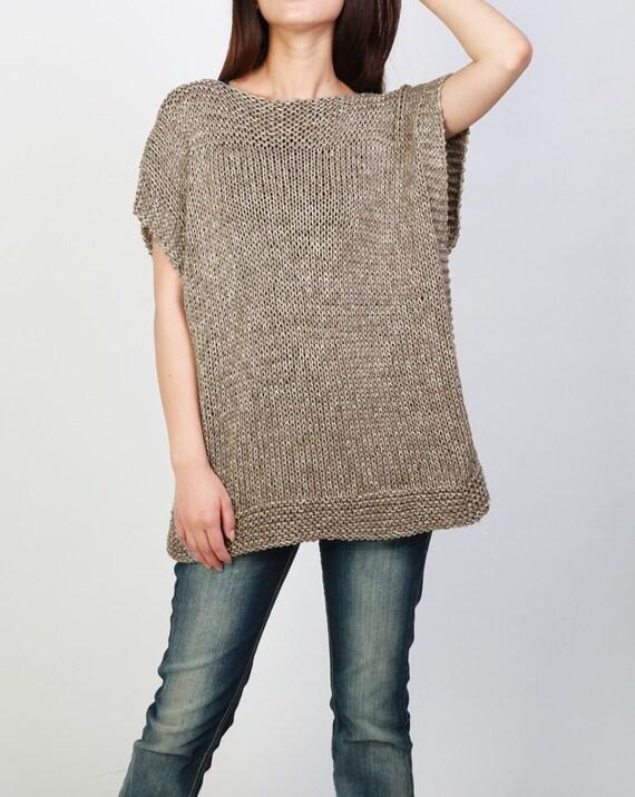 sweater woman vest Hand mocha knit Tunic cotton sweater eco BpWpzExgq