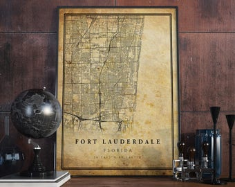 Fort Lauderdale vintage map poster print wall art   Florida gift printable download   Old map decor  home & office   Map For Decor   MP138