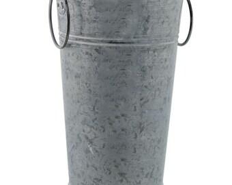 Galvanized French Market Metal Vase with Whitewash