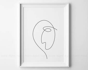 Line Drawing Of Sad Face : Abstract sad face printable one line drawing print drawn
