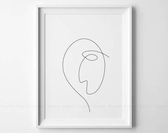 Single Line Art Print : Abstract sad face printable one line drawing print drawn