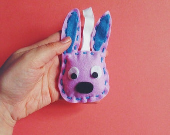 "5"" x 3"" Purple Felt Bunny Keychain - Ornament, Easter Rabbit, Easter Decor, Felt Ornament, Holiday Ornament, Bunny Plush, Rabbit Plush, Cute"