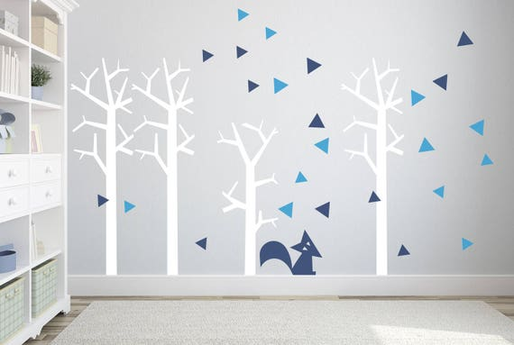 Nursery Wall Decal Woodland Wallsticker TREE fox Customizes for Kids Toddlers Room Nature Decor Forest TRIANGLE Removable decoration CGhome