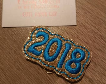 Gold and Peacock Blue 2018 Flag Paper Clip
