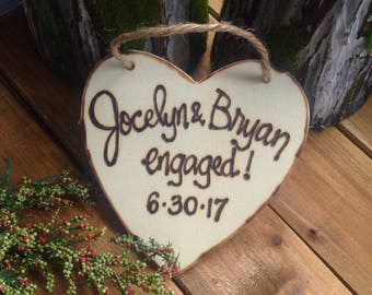 ENGAGED Ornament Personalized Couple's Names & Engagement Date She said Yes! Wood Heart Fiance Bridal Shower Rustic Wood Christmas Holiday