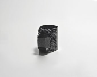 Tibetan black phantom quartz encrusted with black tourmaline on oxidized sterling silver size 9 statement ring