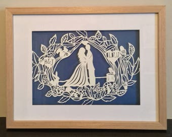Wedding Papercut - Art - Wedding Gift - newlyweds - woodland -bride - groom - woodland animals - paper cut - paper cutout - personalised