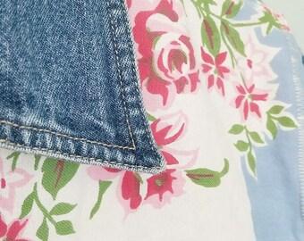 denim jacket redo vintage roses tablecloth upcycle