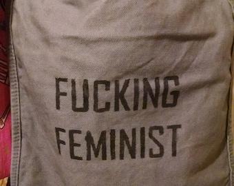 F*cking Feminist   Hand-Painted Messenger Bag