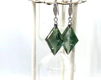 Sale! Green Amethyst Earrings in sterling silver