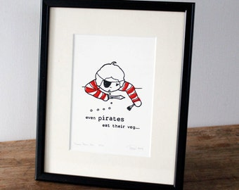 "Pirate Gocco print, red - Ltd edition 1 of 20 (8"" x 10"")"