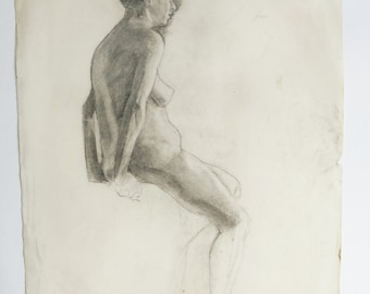 Figure study, 1932 , original drawing, charcoal drawing