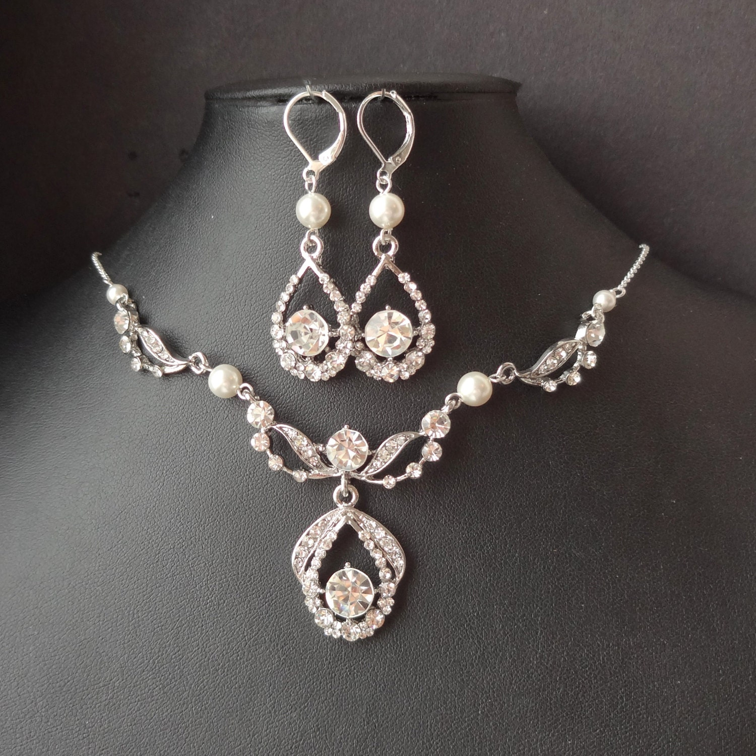 Art Deco Bridal Necklace Earrings SET Vintage Wedding