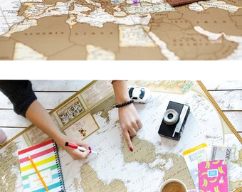 Unique Engagement Gift for Couple - Scratchable Travel Map With Push Pins World Map Of The World,  Scratch World Map, Easter gift