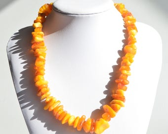"""Vintage Antique Natural Baltic Yellow Butterscotch Egg Yolk Amber Necklace 19"""""""