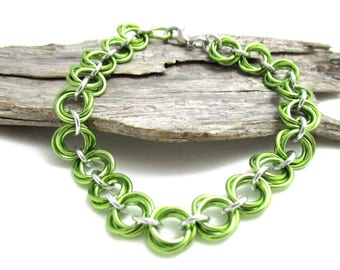 Lime Green & Silver Chain Maille Bracelet - Lime Green Mobius Chainmaille Bracelet