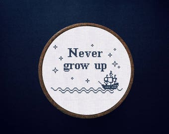 Cross Stitch Pattern Never grow Up Instant Download PDF Counted Chart