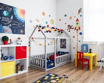 Children bed FULL/ DOUBLE/ Queen, frame bed, house bed, toddler nursery, children furniture wooden house, kids bedroom, home design Gift