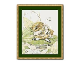 Mr. Jeremy Fisher Cross Stitch Pattern, Beatrix Potter, Instant Download Cross Stitch Chart (BP028)