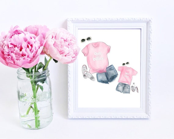 Out of the office, mommy and me, mother daughter art, mother daughter print, gifts for mom, girly print, little girls room