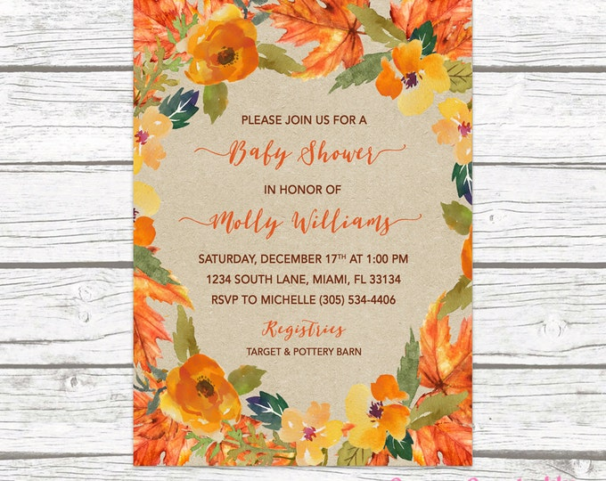 Fall Baby Shower Invitation, Fall Leaves Baby Shower Invitation, Gender Neutral Invitation, Rustic Fall Baby Shower Invite, Kraft Fall
