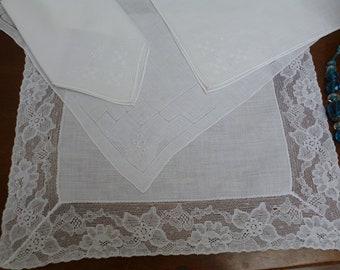 Irish Linen Bridal Handkerchiefs / Lady's Handkerchiefs, Vintage