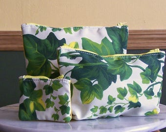 Zippered Pouch Set of 3, Ivy and Yellow Canvas