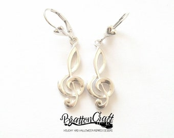 Sterling Silver Treble Clef Earrings -  Treble Clef Earrings - Music Earrings - Clef Earrings - Musical Symbol Earrings - Music Lover