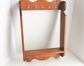 Vintage Wood Shelf Wall Hanging Pine Necklace Shelf Gold Tone Hooks