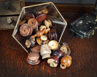 Antique Wood Finials 25 Wooden Knobs Reclaimed Wood Salvaged Post Tops Instant Collection