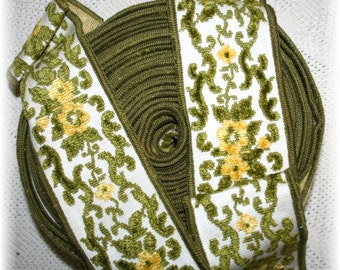 SALE Antique Vintage Wide Chenille Trim Green Gold Olive Yellow  Upholstery Millinery Haberdashery Decor and Embellishment